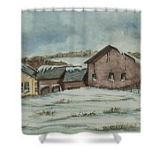 Country Farm In Winter Shower Curtain