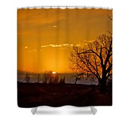 Country Golden Sunrise Shower Curtain