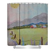Country Landscape On Barnwood Shower Curtain