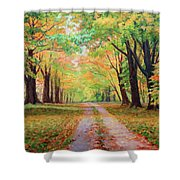 Country Lane - A Walk In Autumn Shower Curtain