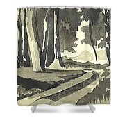 Country Lane In Evening Shadow Shower Curtain