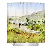 Country Lane In Spring Shower Curtain