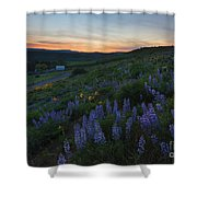 Country Meadow Sunset Shower Curtain