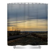 Country Morning School Bus Shower Curtain