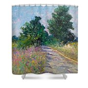 Country Path With Sunflowers Shower Curtain