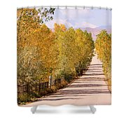 Country Road Autumn Fall Foliage View Of The Twin Peaks Shower Curtain