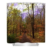 Country Road In Autumn Shower Curtain