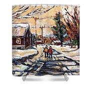 Purchase Best Original Quebec Winter Scene Paintings Achetez  Paysage De Quebec Cspandau Art Shower Curtain
