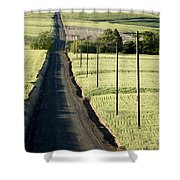 Country Road, Wheat Fields Shower Curtain