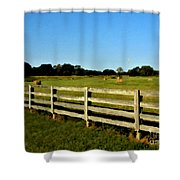 Country Scene With Field And Hay Bales Shower Curtain