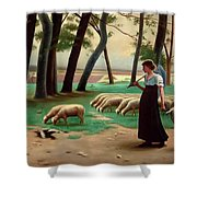 Country Shepherdess  Shower Curtain
