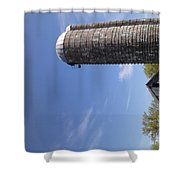View Of An Old Barn And Silo Shower Curtain