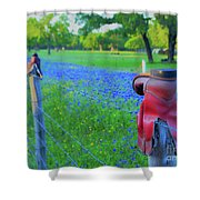 Country Western Blue Bonnets Shower Curtain