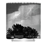 County Line Northern Colorado Lightning Storm Bw Pano Shower Curtain by James BO  Insogna