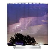 County Line Northern Colorado Lightning Storm Cropped Shower Curtain