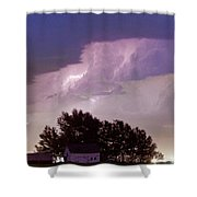 County Line Northern Colorado Lightning Storm Panorama Shower Curtain