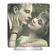 Couple About To Kiss In Front Of Christmas Tree Shower Curtain