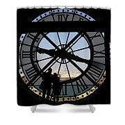 Couple And Clock D'orsay Museum Paris Shower Curtain
