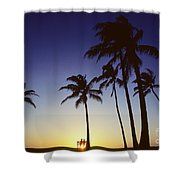 Couple And Sunset Palms Shower Curtain