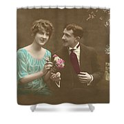 Couple At Beach Colorized Shower Curtain