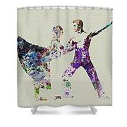 Couple Dancing Ballet Shower Curtain by Naxart Studio