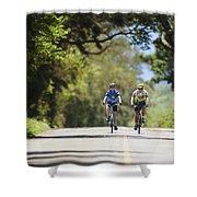 Couple Enjoying A Back Road Bike Ride Shower Curtain