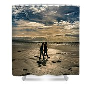 Couple In Golden Beach Shower Curtain