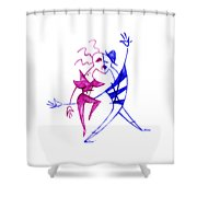 Couple In Love Dancing - Funny Illustration Shower Curtain