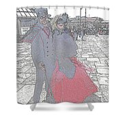Couple In Red Shower Curtain