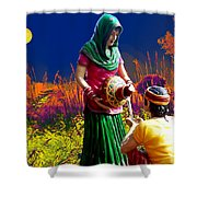Couple Moon And Water Shower Curtain