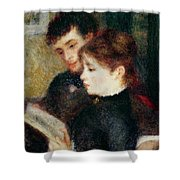 Couple Reading Shower Curtain by Pierre Auguste Renoir