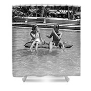 Couple Relaxing In Pool, C.1930-40s Shower Curtain