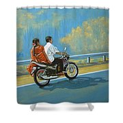 Couple Ride On Bike Shower Curtain