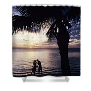 Couple Silhouetted On Beach Shower Curtain