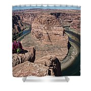Couple Viewing Horseshoe Bend High Up Edge  Shower Curtain