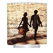 Couple Wading In Ocean Shower Curtain