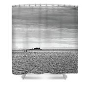 Couple Walking On A Sandbank Shower Curtain