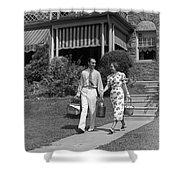 Couple Walking Out Of House, C.1930s Shower Curtain