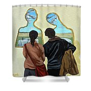 Couple With Their Heads Full Of Clouds Shower Curtain