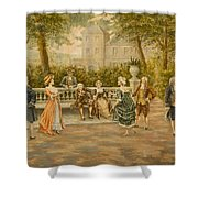 Couples On Veranda Of Chateau Shower Curtain