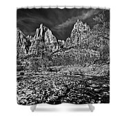Court Of The Patriarchs II - Bw Shower Curtain