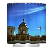 Courthouse And Flags Shower Curtain