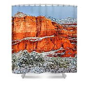 Courthouse Butte And Bell Rock Under Snow Shower Curtain