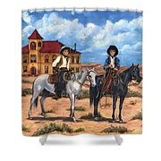 Courthouse Cowboys Shower Curtain