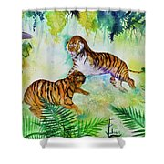 Courting Tigers. Shower Curtain by Larry  Johnson