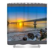 Courtney Campbell Bridge Sunrise - Tampa, Florida Shower Curtain