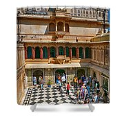 Courtyard, City Palace, Udaipur Shower Curtain