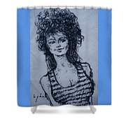 Cove Girl With Striped Shirt Shower Curtain