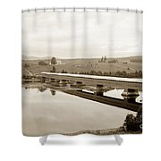 Very Long Covered Bridge Over A River Shower Curtain