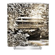 Covered Bridge At Lanterman's Mill Black And White Shower Curtain